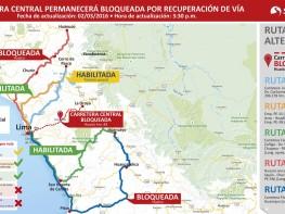 Comunicado: Habilitado un sector de carretera central para tránsito de vehículos varados